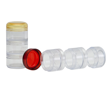 Connect–A–Jar, transparent jar with assorted color lids