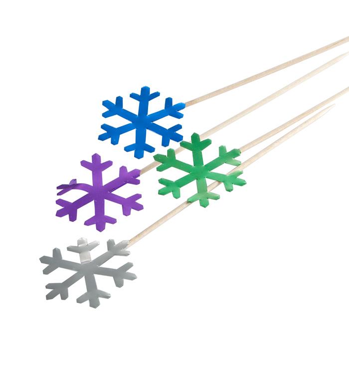 Snowflake (Metallic) Holiday Party Picks